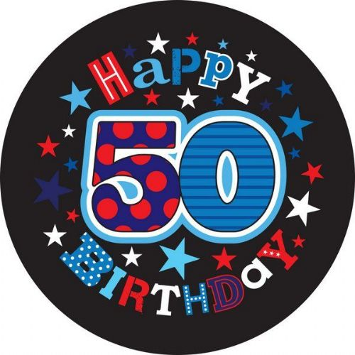 Badge 15cm Happy Birthday Age 50 Male